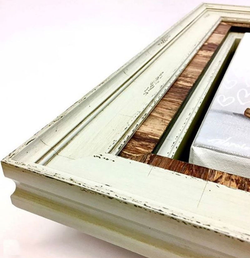 vintage wood used as a custom cut picture frame design