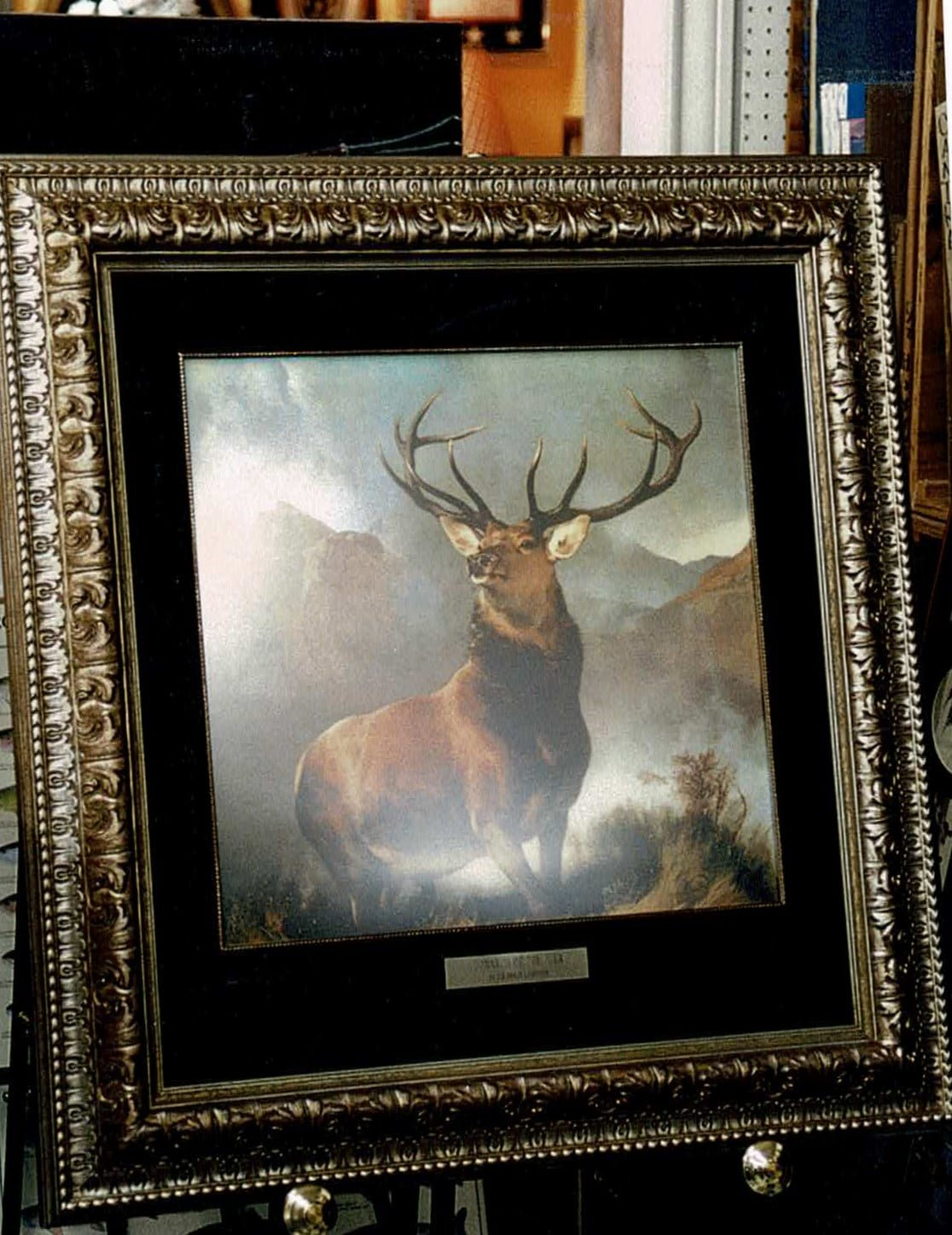 painting of an elk standing proudly in a custom mat frame by the right angle