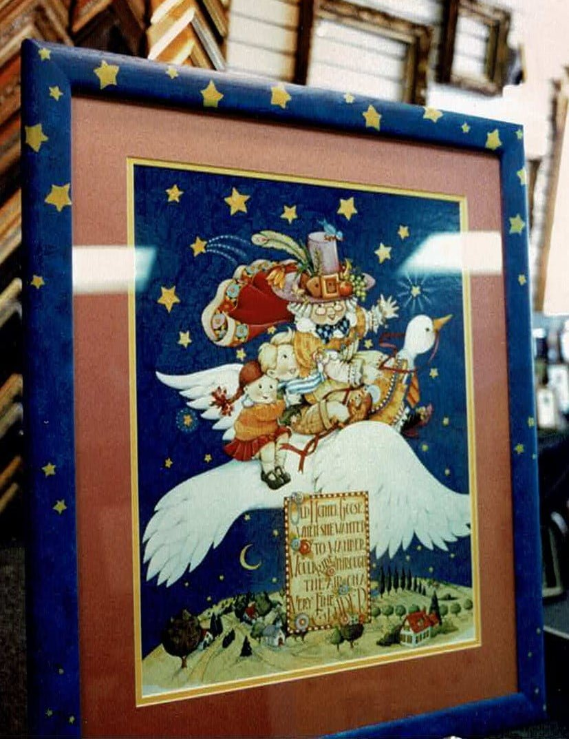 Professional needlework design in Amarillo also framed with a custom matting by The Right Angle
