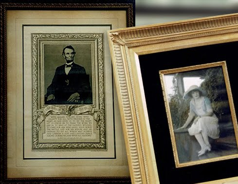 historical photos held with custom cut matting and framing